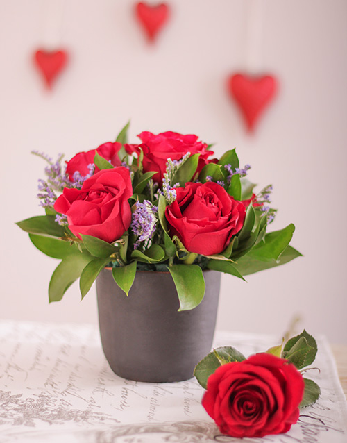 flowers: Red Roses in a Chalkboard Vase!