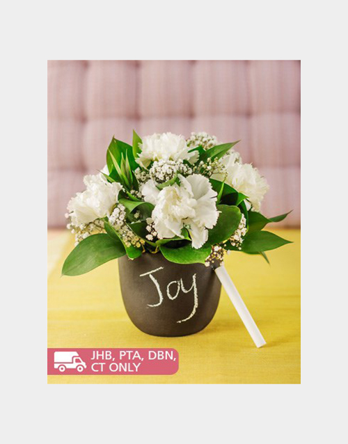 carnations: White Carnations in a Chalkboard Vase!