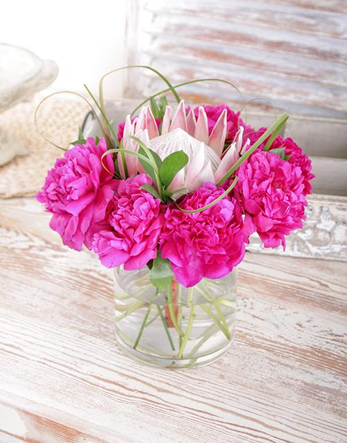 vase: King Protea and Cerise Peonies!