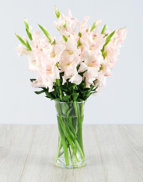vase: Light Pink Gladiolus in a Glass Vase!