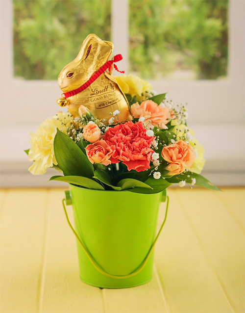 carnation: Bright Easter Carnations in a Bucket!
