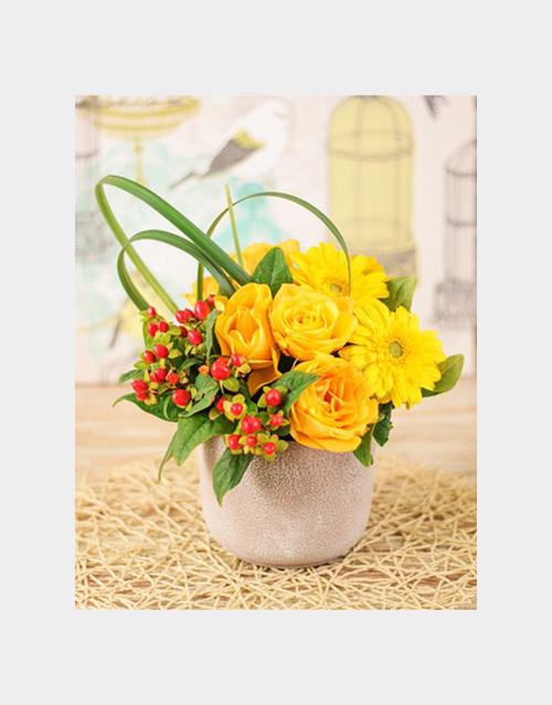 friendship: Yellow Roses and Gerbera Arrangement!