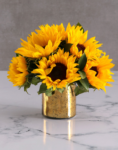 friendship: Sunflowers in a Gold Vase!