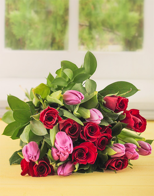anniversary: Red Roses and Tulips!