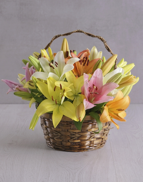 friendship: Mixed Lilies in a Basket!