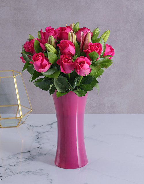 sympathy: Pink Roses and Lilies in a Pink Vase!