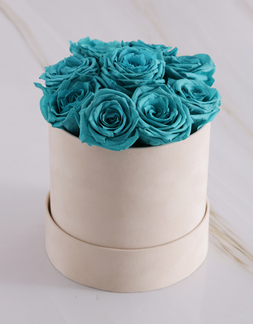 in-a-box: Soft Turquoise Preserved Roses in a Cream Box!