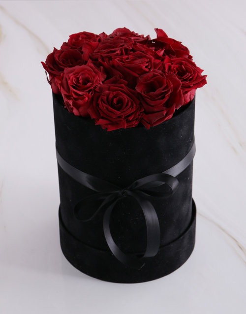 in-a-box: Large Black Suede Box with Red Preserved Roses!