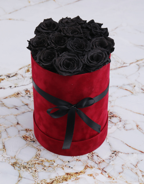 in-a-box: Large Red Suede Box with Black Preserved Roses!