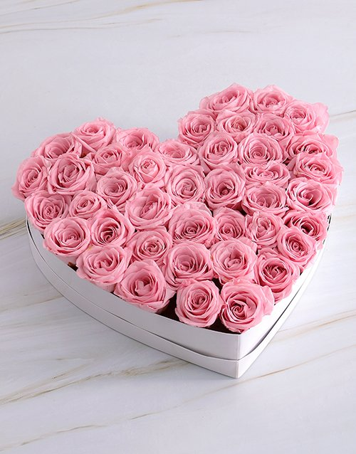 silk: White Heart Of Pink Preserved Roses!