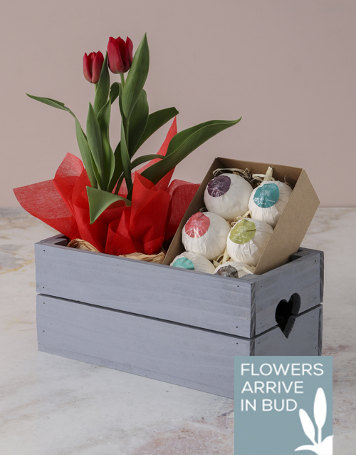 tulips: Red Tulip And Bath Bomb Crate!