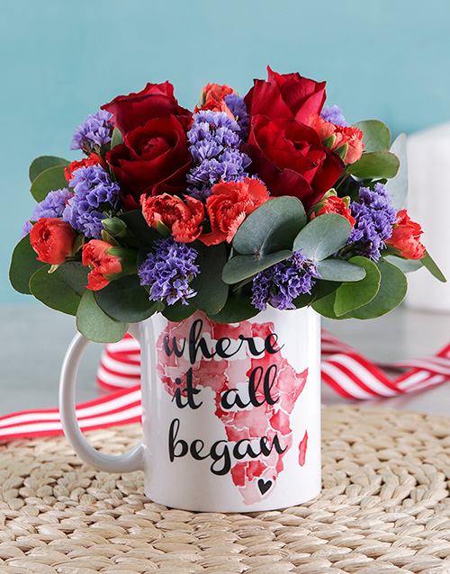 friendship: Where it all Began Red Rose Mug Arrangement!