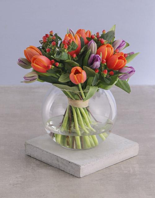 vase: Mixed Tulips in Round Vase!