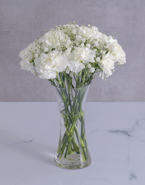 friendship: Pure White Carnations in a Flared Glass Vase!