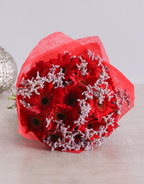 christmas: Brilliant Red Gerbera Bouquet!
