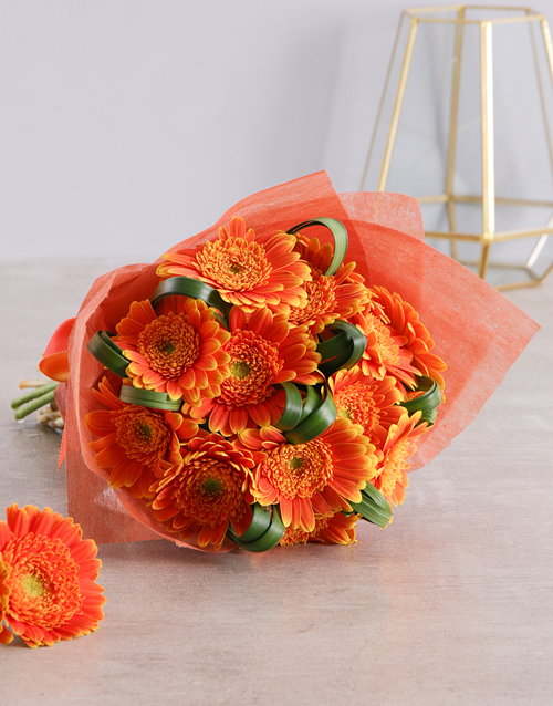 friendship: Apricot Bouquet Of Gerbera Daisies!