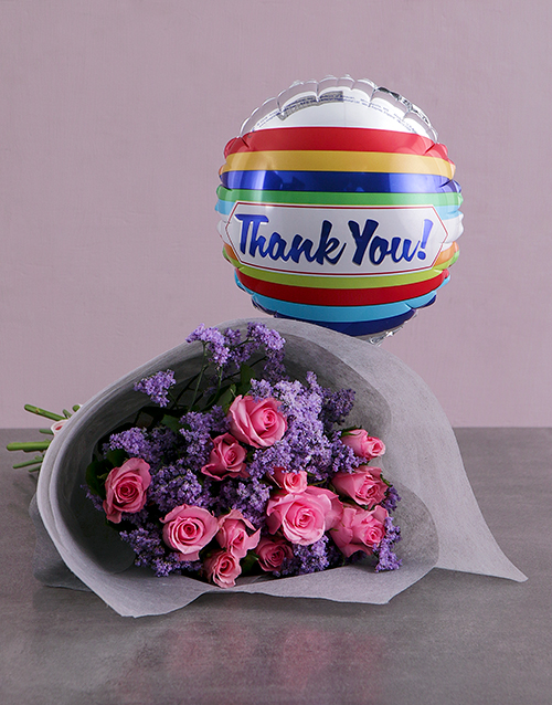 bouquets: Thank You Balloon And Pink Rose Bouquet!