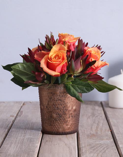 anniversary: Cherry Brandy Roses in a Copper Pot!