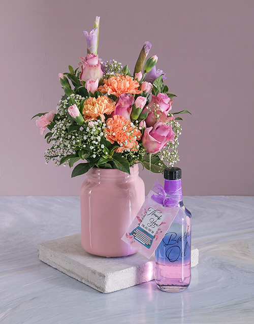 colour: Floral Mix In A Pink Consol Jar!