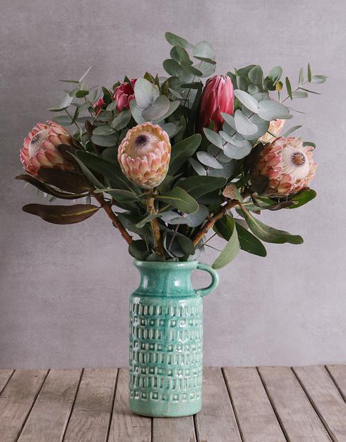 anniversary: Proteas in Ceramic Jug!