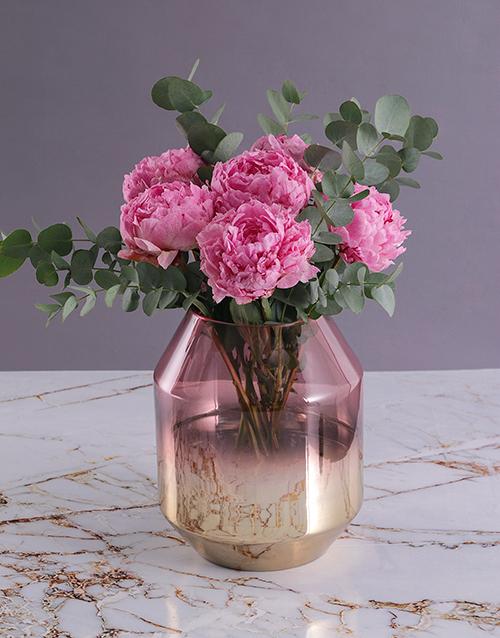 vase: Pink Peonies in Gold and Pink Vase!