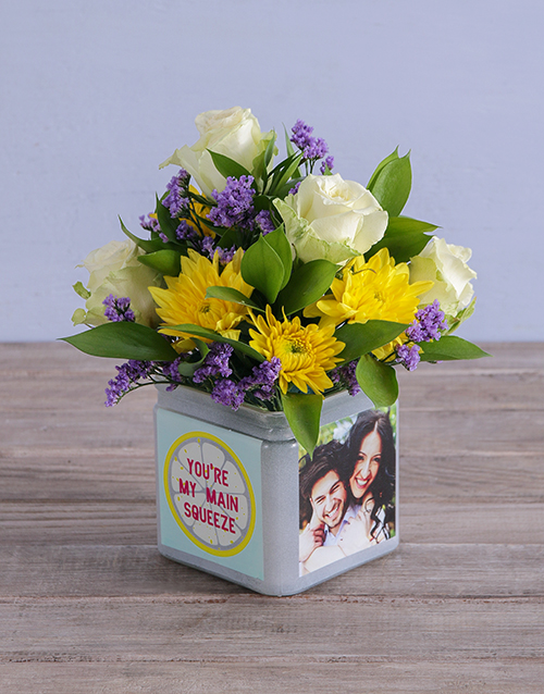 vase: Personalised Mixed Flowers in Squeeze Photo Vase!