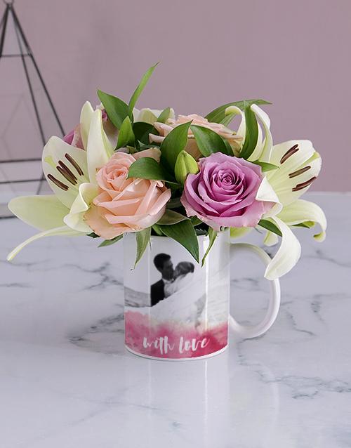 anniversary: With Love Image Upload Floral Mug!