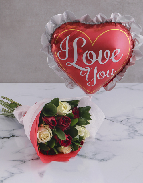colour: Love You Rose Bouquet and Balloon!