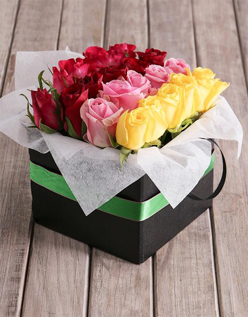 colour: Rows Of Mixed Roses In Green Ribbon Box!