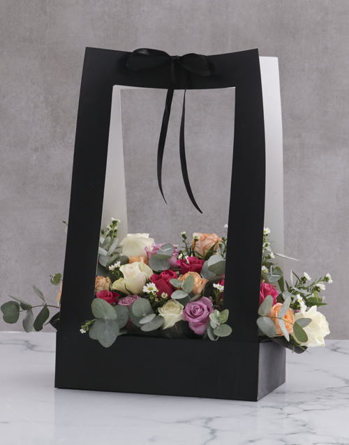 birthday: Modern Mixed Roses In Black Carrier Bag!