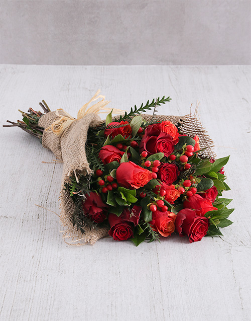 bouquets: Red Rose and Hypericum Bouquet!
