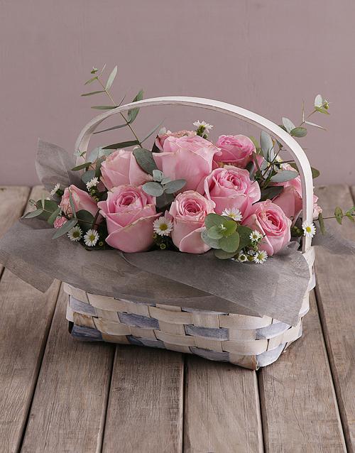 anniversary: Basket of Pink Roses!