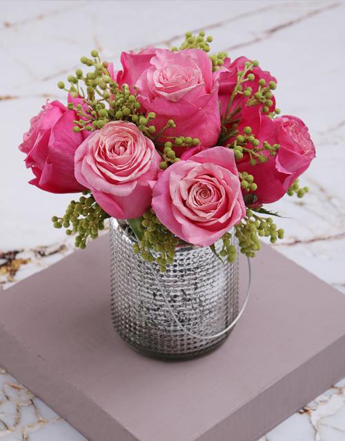 anniversary: Cerise Roses In Silver Metallic Vase!
