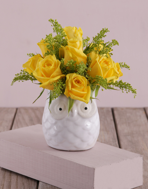 birthday: Yellow Roses in a Ceramic Owl!