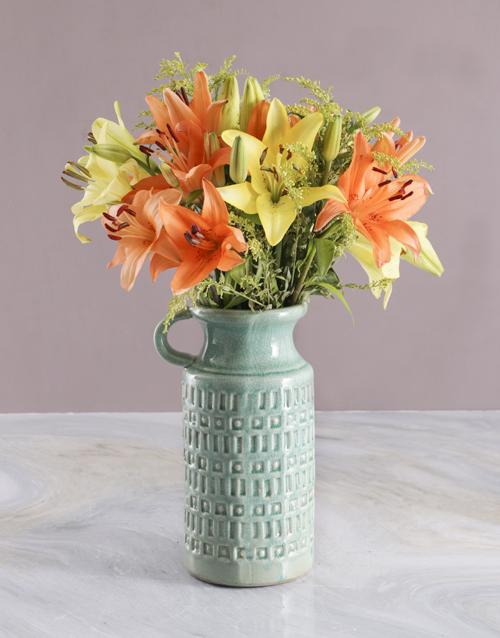 colour: Bright Lilies in Ceramic Jug!