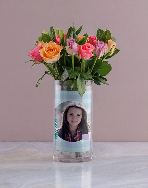 colour: Personalised Roses in All About You Photo Vase!