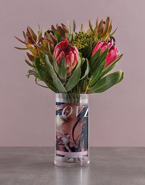 colour: Personalised Mixed Proteas in Love Photo Vase!