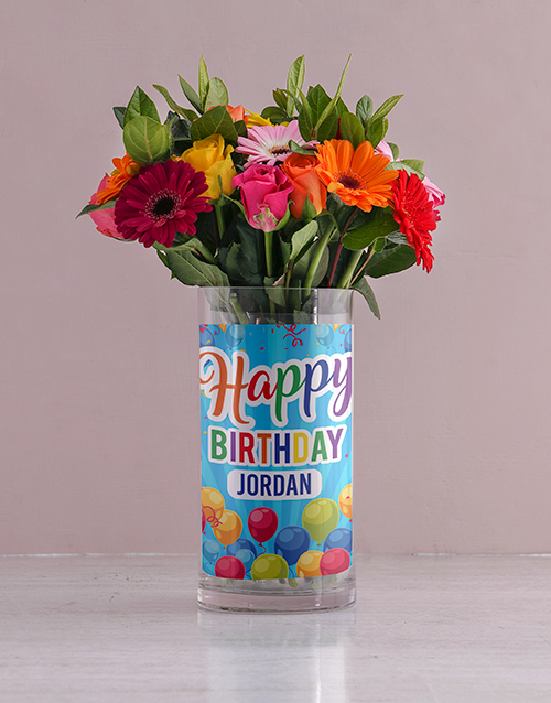 colour: Personalised Bright Flowers in Birthday Photo Vase!