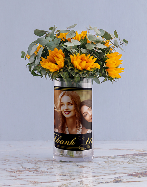 colour: Personalised Sunflowers in Thank You Photo Vase!