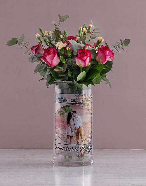 colour: Personalised Roses in Adventure Begins Photo Vase!