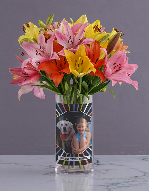 colour: Personalised Lilies in Colourful Photo Vase!