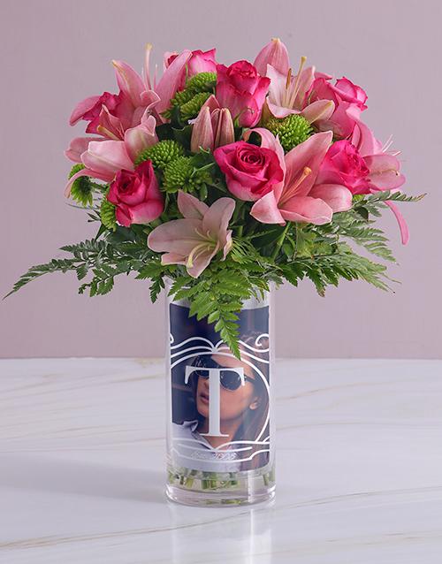 christmas: Personalised Pink Flowers in Initial Photo Vase!