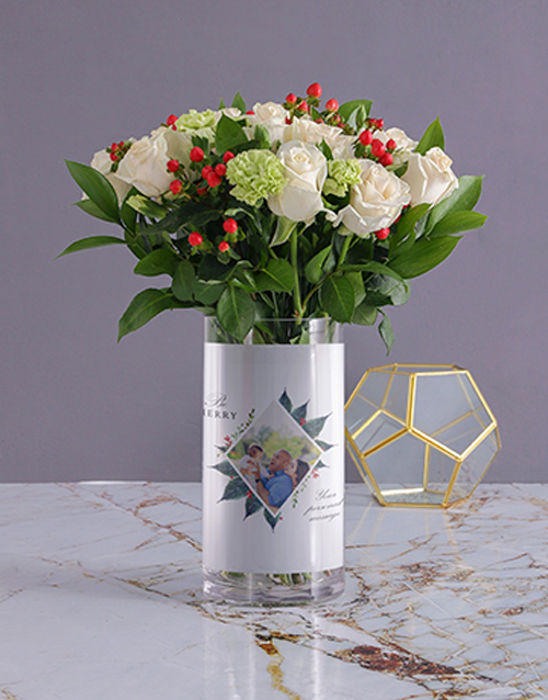 christmas: Personalised Festive Florals in Merry Photo Vase!