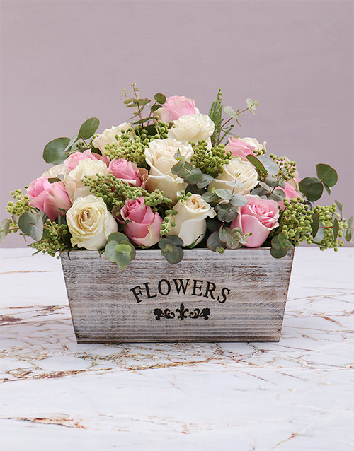 colour: Rustic Blush Flowers In Wooden Crate!