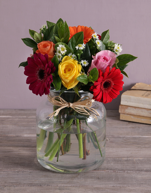 friendship: Mixed Flowers in a Glass Urn!