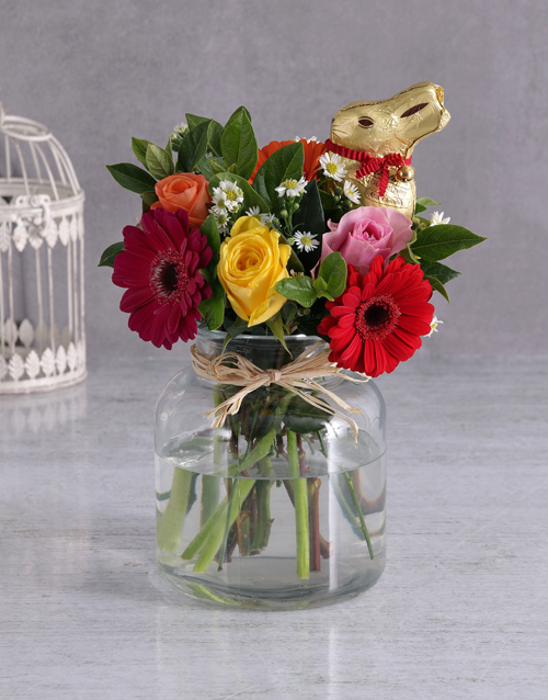mixed: Beautiful Easter Blooms with Lindt Bunny!