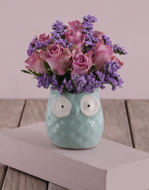 colour: Lilac Roses in a Mint Owl!