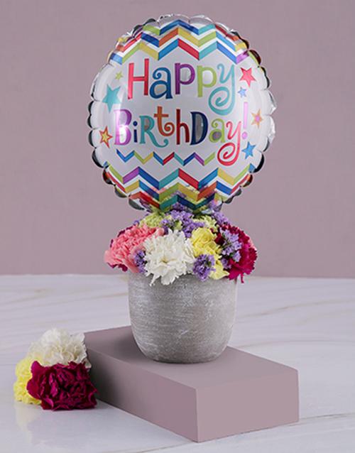 birthday: Birthday Balloon And Arrangement In A Pot!