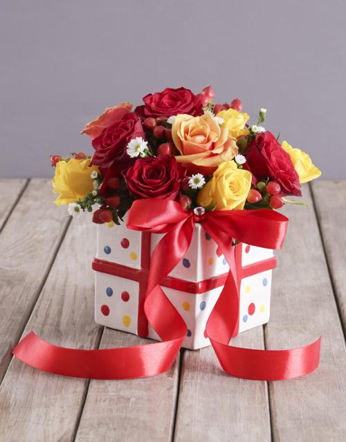 flowers: Mixed Rose Ribbon and Polka Box!