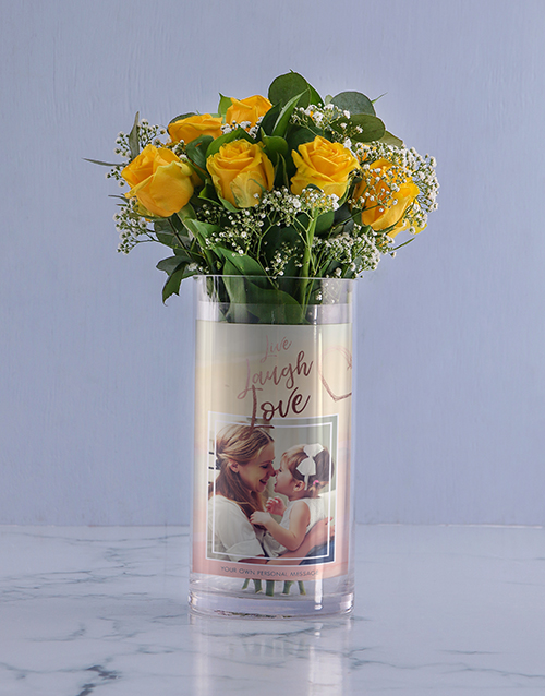 colour: Personalised Live And Laugh Roses Photo Vase!
